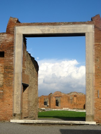 view of a wooden doorway: A view of Pompeii Stock Photo