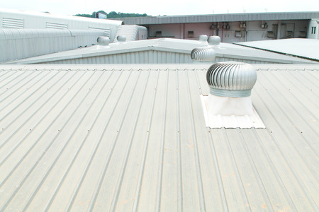 roof house: Architectural detail of metal roofing on commercial construction