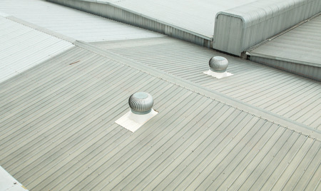 Architectural detail of metal roofing on commercial construction Banco de Imagens - 37851616