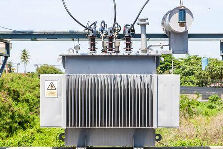 power transformer: Highvoltage power transformer Stock Photo
