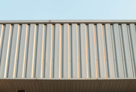alumna: Architectural detail of metal roofing on commercial construction