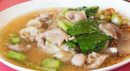 stared: Seafood and Noodles in a Creamy Sauce : Guaitiao Rad Na : delicious tradition thailand food Stock Photo