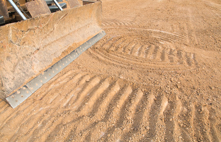 sandpit: Excavator working with earth and sand in sandpit in highway construction site