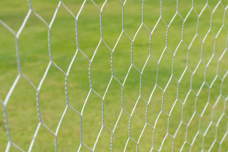 soccer net: soccer net on green grass Stock Photo