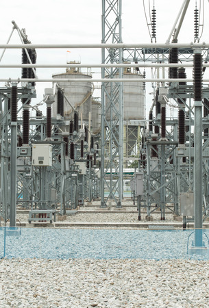 sub station: Sub station 11522 kV outdoor type silhouette Stock Photo