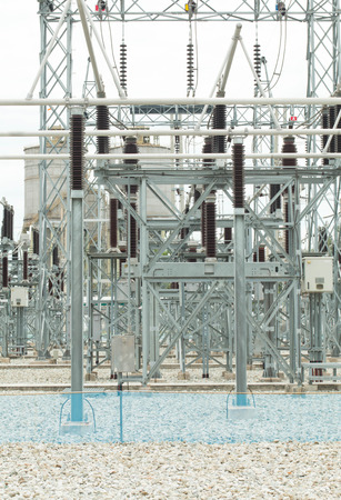isolator switch: part of high-voltage substation with switches and disconnectors Stock Photo