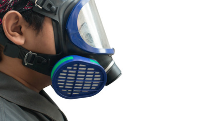 Gas mask White background Stock Photo