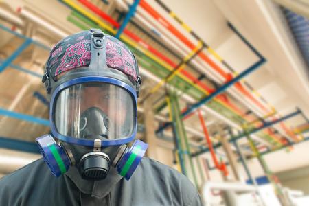 A man in a gas mask. Standard-Bild