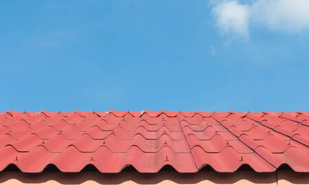 house gable: Architectural detail of metal roofing on commercial construction