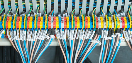busbar: New control panel with circuit-breakers, fuses, rails, low voltage meters, current transformers, relays and other electrical equipment.