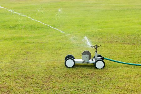 Watering turf Stock Photo