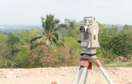 tacheometer: Theodolite outdoor locations Stock Photo