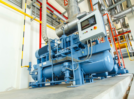 cooling: industrial compressor refrigeration station at manufacturing factory