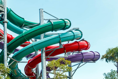 Waterpark in luxury tropical resort, water slide