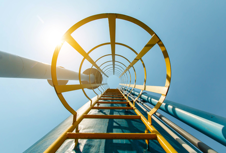 modern industrial with metal ladder, stairs and sky Stock Photo