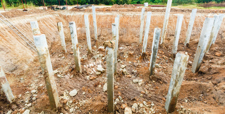 concrete piles in a construction area Banco de Imagens - 98918007