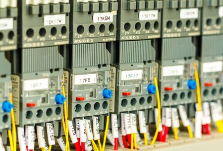 New control panel with, fuses, rails, low voltage meters, current transformers, relays and other electrical equipment.