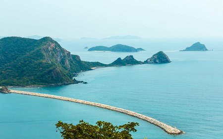 Rocky cliff above the beautiful clear Sea and Island,View from View Point , Sattahip Chonburi, Thailand.