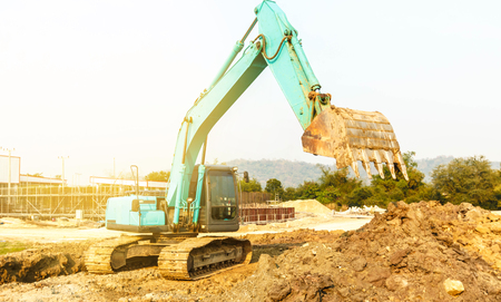 excavator at sandpit during earthmoving works