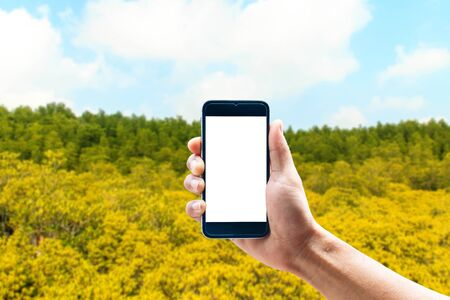Hand using smartphone mobile in the vertical position, background blur