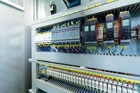 Electric control panel enclosure for power and distribution electricity. Uninterrupted, electrical voltage.