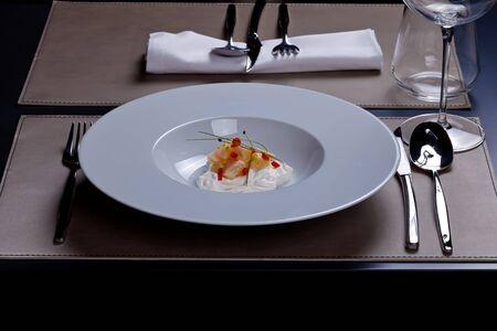 petoncle: Cr�me salade de Saint Jacques � la ciboulette Banque d'images