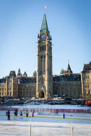 Ottawa, ON  Canada - December 16 2017: Hockey game at the temporary ice rink at Parliament Hill
