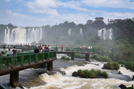 Foz do Iguaçu, PR / Brazil - April 03 2011: People admiring the Falls