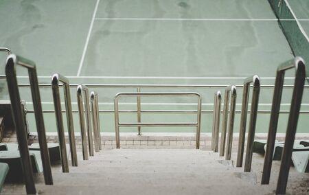 walk way on tennis stadium Stock Photo
