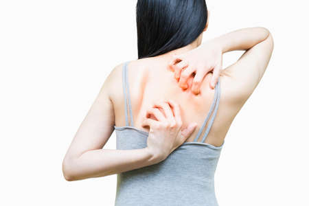 Back of woman in gray undershirt scratch the skin on the area of Itching, Health-care concept on white background