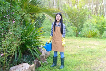 Selective focus,Beautiful young asian woman gardening