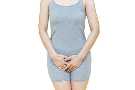 woman in gray clothes put her hand on the genitalia area, Itching or urinary, painful illness feeling unwell Health-care concept on white background