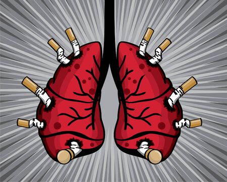 many cigarette stab on lung illustration vector.