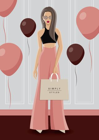 Fashion illustration vector. Fashionable woman wear black crop top with pink rose high waist pant. She is standing in the luxury vintage room. There are balloons around her.