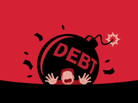 the man can't get out of debt illustration vector.