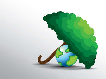 tree saves the earth from global warming illustration.