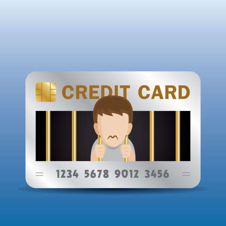 the man is in credit card debt. he feels like he is living in a prison. Ilustrace