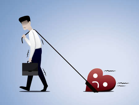 The man has to go to work but his heart doesn't want to work anymore. Burnout syndrome illustration vector. Illustration