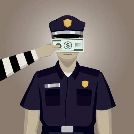 The police was bribed to see nothing illustration vector.