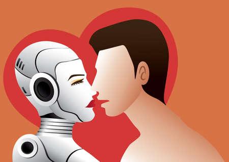 A man is about to kiss a female robot. Ilustración de vector