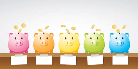 cute and colorful piggy banks with note paper illustration vector. Illustration
