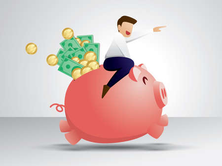 The man and his piggy bank are running happily because they have a lot of money. Saving money illustration vector.