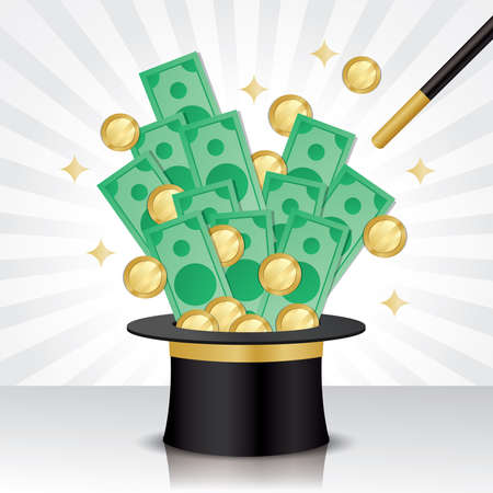 the magician produced a lot of money from the hat. Making money illustration vector.