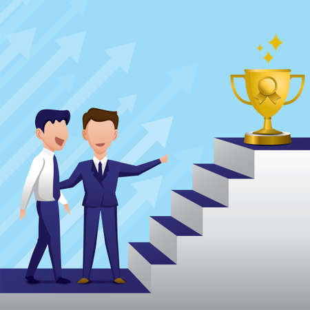 The boss is advising an employee how to be successful. Career path illustration vector.