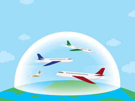 Travel bubble is the new tourism trend of the world. illustration vector with copy space.