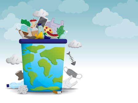 Global waste crisis illustration vector.