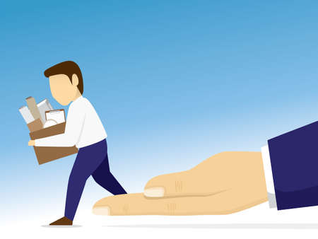 Compassionate layoff illustration vector with copy space. An employee step down from the boss's hand. Illustration
