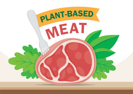 Plant based meat and vegetable and fork with plant based sign on a table illustration vector.