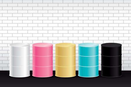 sweet color oil drums with white brick wall background vector. Ilustración de vector