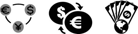 Money currency exchange and money transfer icon on white background